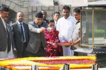 Prime Minister of Nepal, Pushpa Kamal Dahal paying floral tributes at the Samadhi of Mahatma Gandhi, at Rajghat