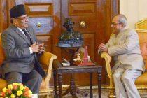 Prime Minister of Nepal, Pushpa Kamal Dahal calling on the President, Pranab Mukherjee, at Rashtrapati Bhavan