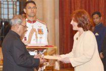 Ambassador-designate of Argentina, Maria Cristina Ueltschi presenting her credentials to the President, Pranab Mukherjee