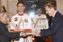 Ambassador-designate of Switzerland, Andreras Baum presenting his credentials to the President, Pranab Mukherjee