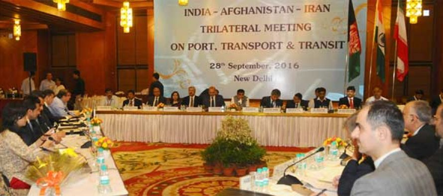 Minister for Road Transport & Highways and Shipping, Nitin Gadkari meetings with visiting Ministers from Iran and Afghanistan