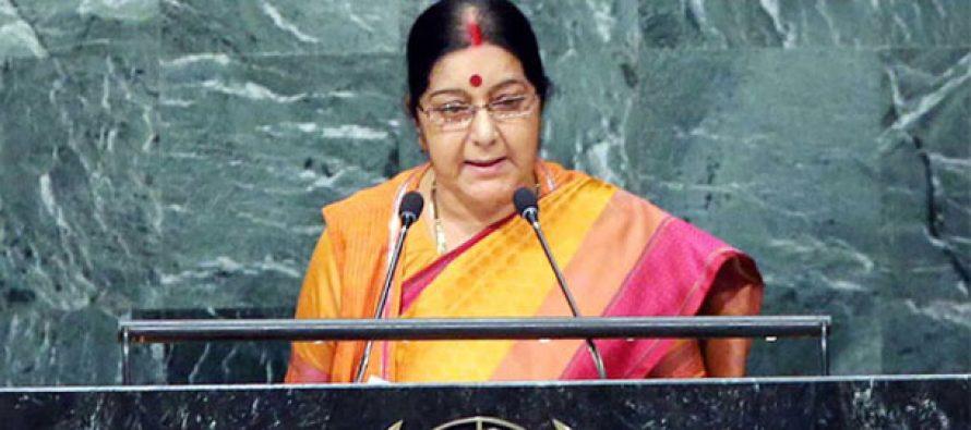 Aiming at Pakistan, Swaraj tells UN world must isolate nations exporting terror
