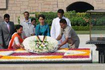 State Counsellor of Myanmar, Aung San Suu Kyi paying floral tributes at the Samadhi of Mahatma Gandhi, at Rajghat,