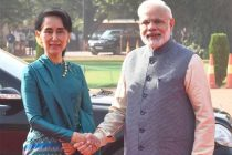 Prime Minister, Narendra Modi receiving the State Counsellor of Myanmar, Aung San Suu Kyi, at the ceremonial reception