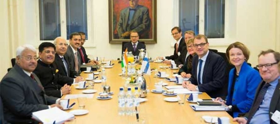 MoS for Power, Coal, New and Renewable Energy and Mines (IC), Piyush Goyal meeting the Prime Minister of Finland, Juha Sipila