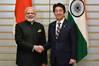 Prime Minister, Narendra Modi with the Prime Minister of Japan, Shinzo Abe, at Kantei (Japan Prime Minister's Official Residence),