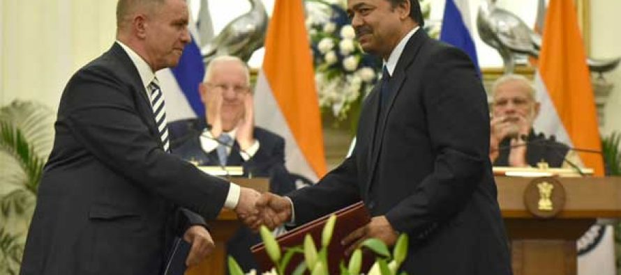Prime Minister, Narendra Modi with the President of Israel, Reuven Rivlin witnessing the exchange of agreements,
