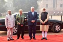 President, Pranab Mukherjee and the Prime Minister, Narendra Modi with the President of Israel, Reuven Rivlin