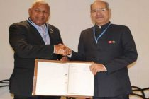 Prime Minister of Fiji, Frank Bainimarama with the MoS for Environment, Forest and Climate Change (IC), Anil Madhav Dave