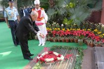 President, Pranab Mukherjee paying floral tributes at the memorial of the former Prime Minister, Late Smt. Indira Gandhi,