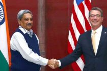 The US Secretary of Defence, Dr. Ashton Carter meeting the Union Minister for Defence, Manohar Parrikar, in New Delhi