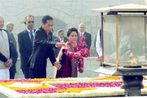 President of Indonesia, Joko Widodo paying floral tributes at the Samadhi of Mahatma Gandhi, at Rajghat