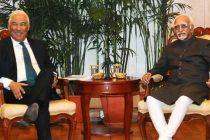 Prime Minister of Portuguese Republic, Antonio Costa calling on the Vice President, M. Hamid Ansari, in New Delhi