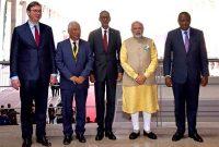 Prime Minister, Narendra Modi with the President of Kenya, Uhuru Kenyatta, the President of Rwanda, Paul Kagame