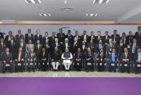 Prime Minister, Narendra Modi in the group photograph with the Global CEOs, at the Vibrant Gujarat Global Summit 2017