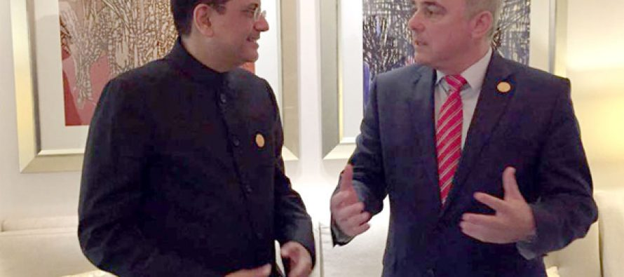 MoS for Power, Coal, New and Renewable Energy and Mines (IC), Piyush Goyal Meeting the Energy Minister of Israel, Dr. Yuval Steinitz