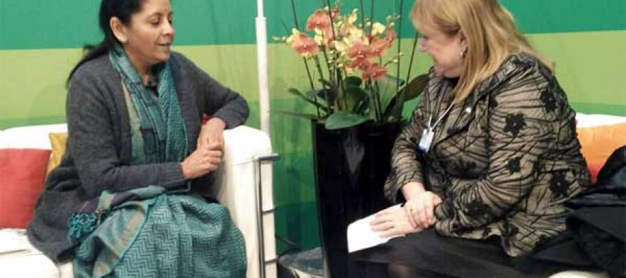 Minister of Foreign Affairs, Argentina, Susana Malcorra meeting the MoS for Commerce & Industry (IC), Nirmala Sitharaman