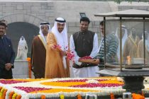 The Crown Prince of Abu Dhabi, Deputy Supreme Commander of U.A.E. Armed Forces, General Sheikh Mohammed Bin Zayed Al Nahyan paying floral tributes at the Samadhi of Mahatma Gandhi, at Rajghat