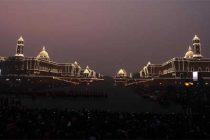 A view of the illuminated Rashtrapati Bhavan, South and North Block, during the 'Beating Retreat' ceremony, at Vijay Chowk,