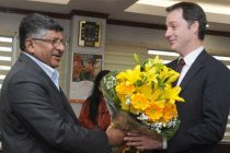 Deputy Prime Minister of Belgium, Alexander De Croo meeting the Minister for Electronics & IT and Law & Justice, Ravi Shankar Prasad
