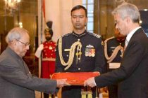 Ambassador-designate of Tunisia, Nejmeddine Lakhai presenting his credentials to the President, Pranab Mukherjee