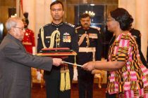Ambassador-designate of Zambia, Judith Kangoma Kapijimpanga presenting her credentials to the President, Pranab Mukherjee