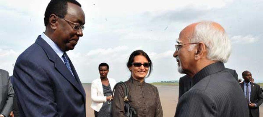 Vice President, M. Hamid Ansari being bid farewell by the President of Senate of Rwanda, Mukuza Bernard,