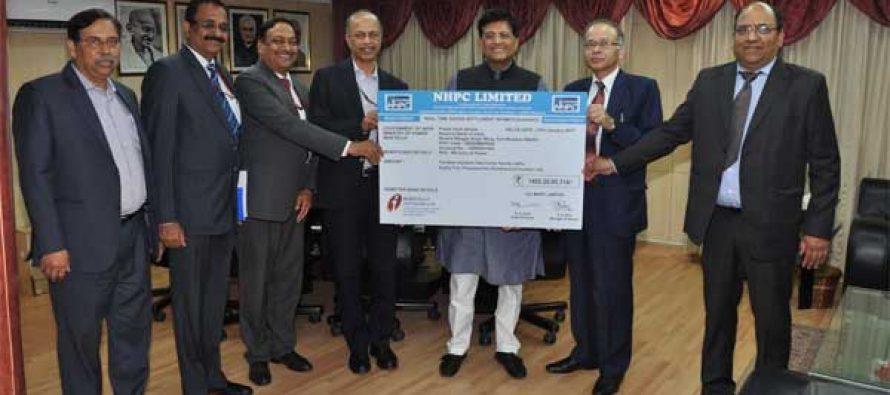 NHPC pays Highest ever Interim Dividend of Rs. 1882 crore