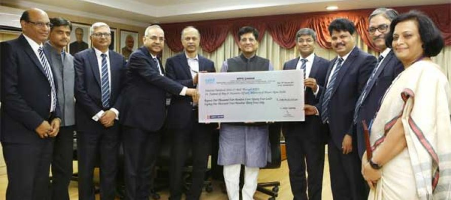 NTPC  pays Interim Dividend of Rs. 2,152.07 crore for FY 2016-17