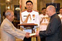 High Commissioner-Designate of the Republic of Seychelles, Philippe Le Gall presenting his credentials to the President, Pranab Mukherjee