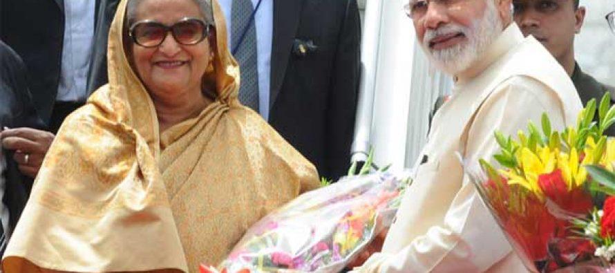 Bangladesh PM arrives, Modi welcomes her