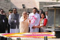 Prime Minister of Bangladesh, Sheikh Hasina paying floral tributes at the Samadhi of Mahatma Gandhi, at Rajghat