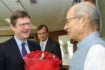 UK Secretary of State for Business, Energy and Industrial Strategy, Greg Clark meeting the MoS for Environment, Forest and Climate Change (IC), Shri Anil Madhav Dave