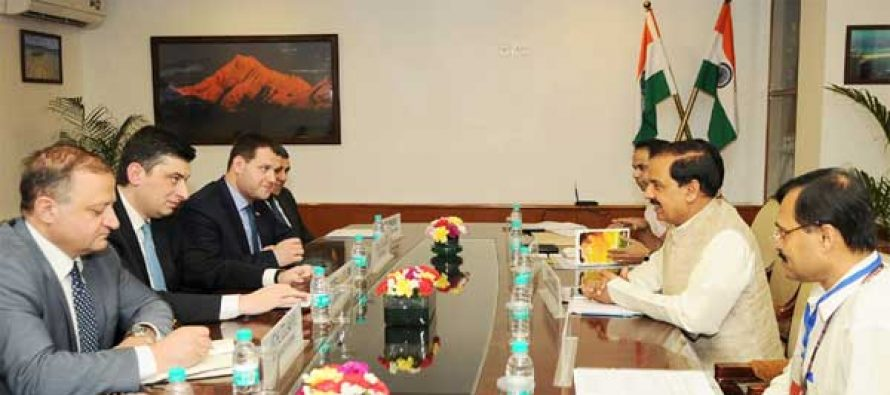 Minister of Economy & Sustainable Development of Georgia, Giorgi Gakharia meeting the MoS for Culture and Tourism (IC), Dr. Mahesh Sharma