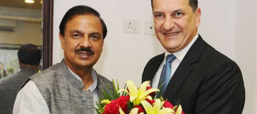Minister of Tourism, Energy, Commerce and Industry of the Republic of Cyprus, Yiorgos Lakkotrypis meeting the MoS for Culture and Tourism (IC), Dr. Mahesh Sharma
