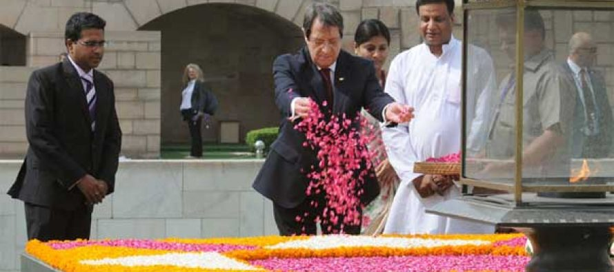 President of the Republic of Cyprus, Nicos Anastasiades paying floral tributes at the Samadhi of Mahatma Gandhi, at Rajghat