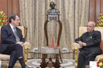 The President of the Republic of Cyprus, Nicos Anastasiades calling on the President, Pranab Mukherjee
