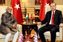 Vice President, M. Hamid Ansari calling on the President of the Republic of Turkey, Recep Tayyip Erdogan