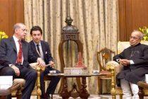 President of the Republic of Turkey, Recep Tayyip Erdogan meeting the President, Pranab Mukherjee