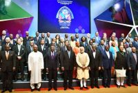 Prime Minister, Narendra Modi with the foreign delegates at the 52nd African Development Bank Annual meetings,