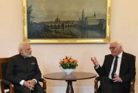 Prime Minister, Narendra Modi calls on the President of Germany, Frank-Walter Steinmeier, at Castle Bellevue,