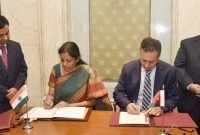 MoS for Commerce & Industry (IC), Nirmala Sitharaman and the Minister Trade and Industry, Jordan, Yarub Qudah