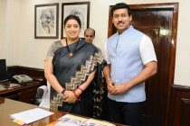 Smriti Irani takes charge as the Minister of Information & Broadcasting, in New Delhi on July 18, 2017.