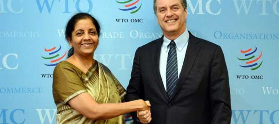 Minister of State for Commerce & Industry (IC), Nirmala Sitharaman meeting the DG, WTO, Roberto Azevedo