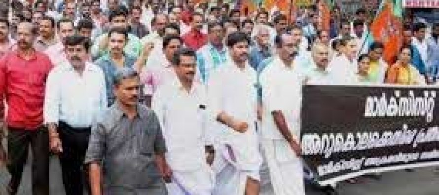 BJP shuts down Kerala after RSS man's murder, eight arrested