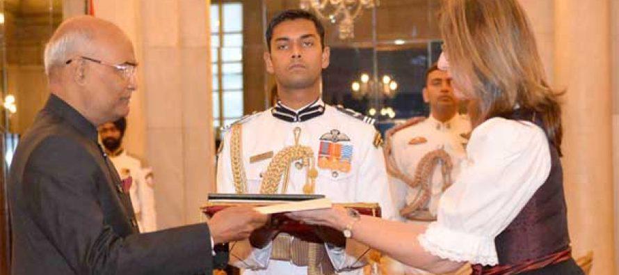 Ambassador-designate of Austria, Brugutte Oppinger Walchshofer presenting her credentials to the President, Ram Nath Kovind