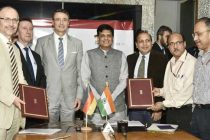 MoS for Power, Coal, New and Renewable Energy and Mines (IC), Piyush Goyal and the Germany Ambassador to India, Dr. Martin Ney