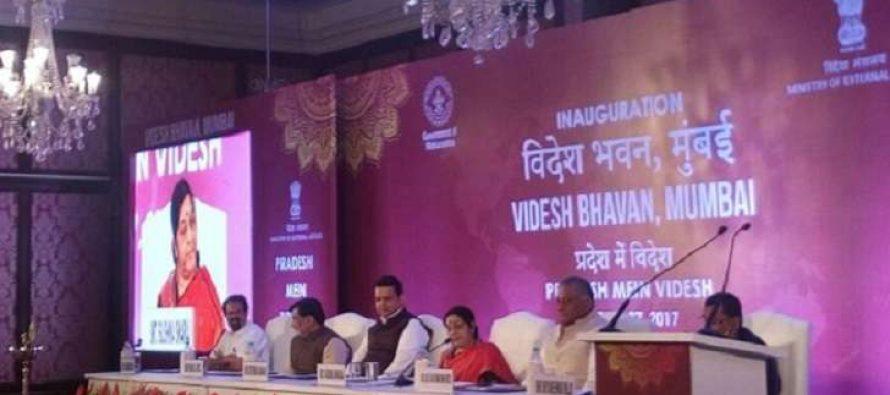 Sushma Swaraj inaugurates India's first 'Videsh Bhavan' in Mumbai
