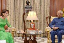 President of Swiss Confederation, Doris Leuthard meeting the President, Ram Nath Kovind, at Rashtrapati Bhavan