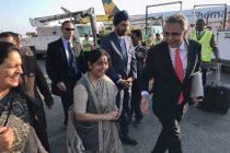 Sushma Swaraj arrives in New York for UNGA session